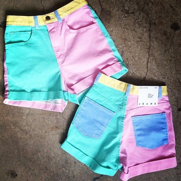 Shoes Shorts Americanapparel Denim Colorblock High