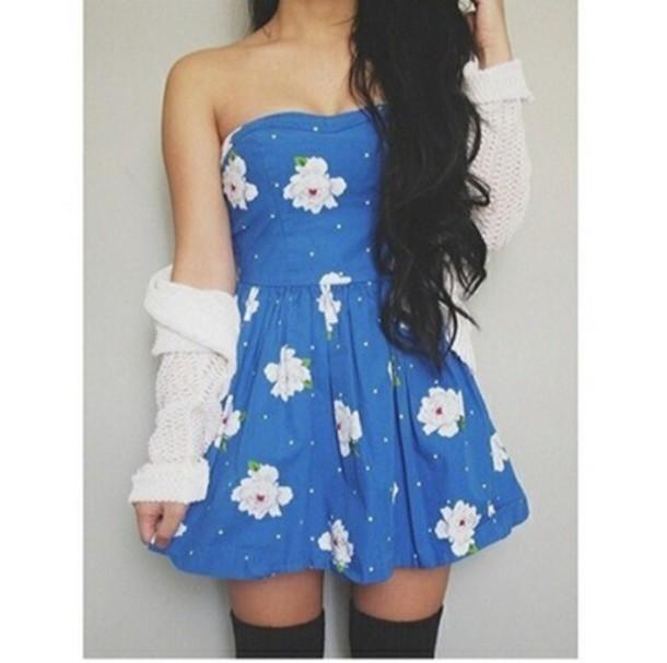 dress floral sweater blue dress fashion floral dress summer dress cardigan fabulous blue flowers cute cute dress hipster skater white daisy dress daisy floral dress light blue white dots