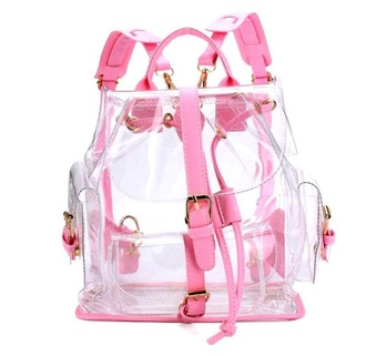 bag girly pink backpack clear