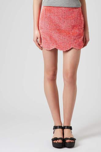 skirt pink fringe scallop skirt scallop skirt