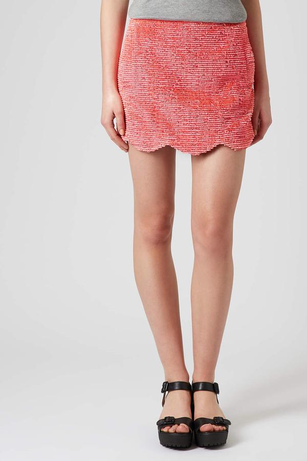 skirt fringe scallop skirt scallop skirt pink