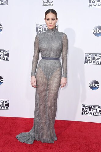 dress gown turtleneck dress hannah davis red carpet dress amas 2015 underwear see through dress grey