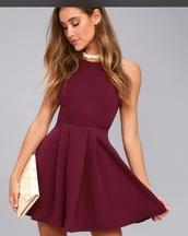 dress,burgundy skater dress