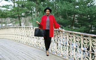 closetconfections blogger jacket pants bag shoes red coat handbag black pants felt hat spring outfits