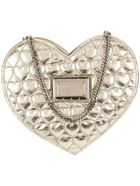 PHILIPP PLEIN heart mini women sweet bag shoulder bag leather grey metallic