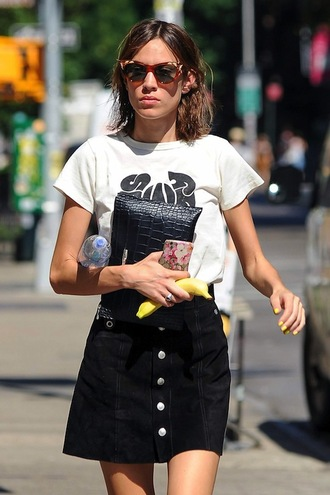 lefashion blogger sunglasses t-shirt bag skirt