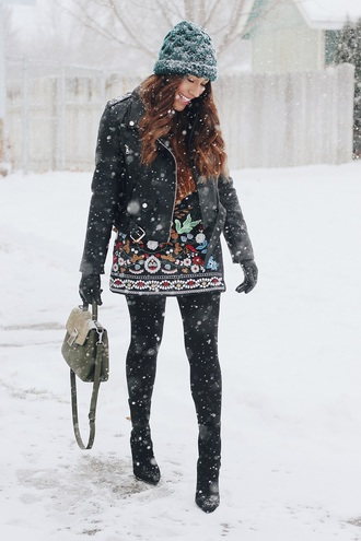 andystyle blogger skirt jacket hat bag sweater winter outfits beanie printed skirt black leather jacket boots