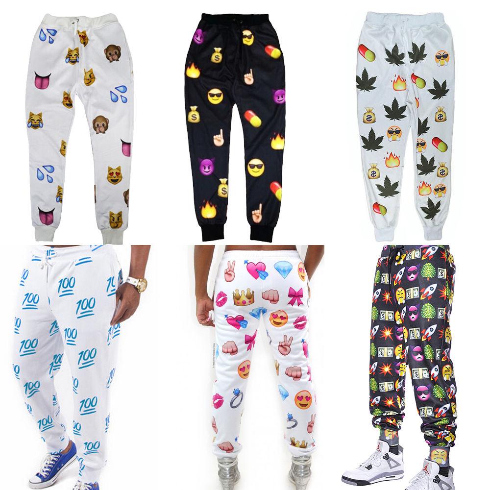2014 new men women emoji funny print jogger casual harent sweat pants leggings