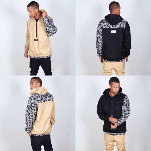 cream black jacket fashion jacket,hoodie,sweatshirt,black chinos men's, dope, swag reversible