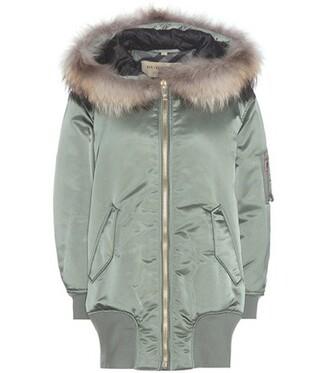 jacket bomber jacket satin bomber long fur satin green