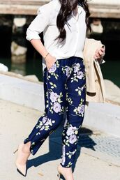 pants,floral pants,blue pants,pumps,nude pumps,shirt,white shirt,coat,nude coat,chic,streetstyle