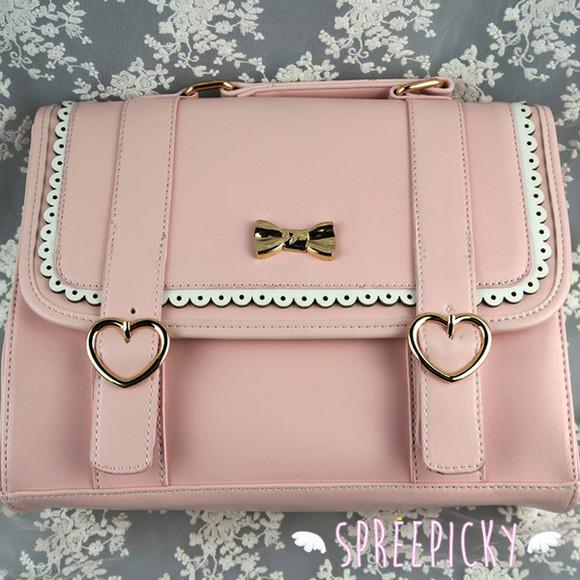 bows bag pink lace