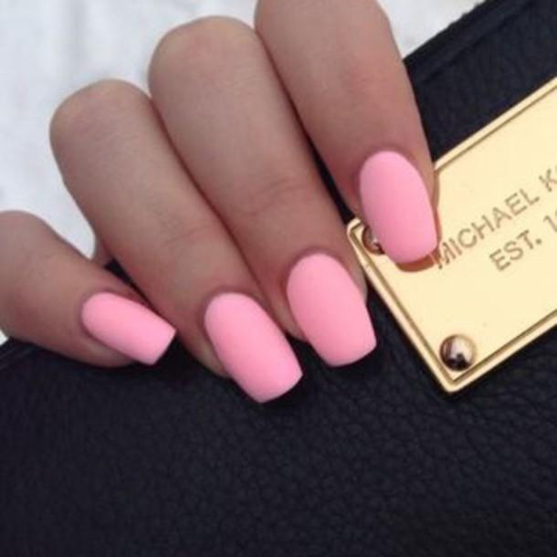 Nail polish: pink, nails, fake nails, matte nail polish ...