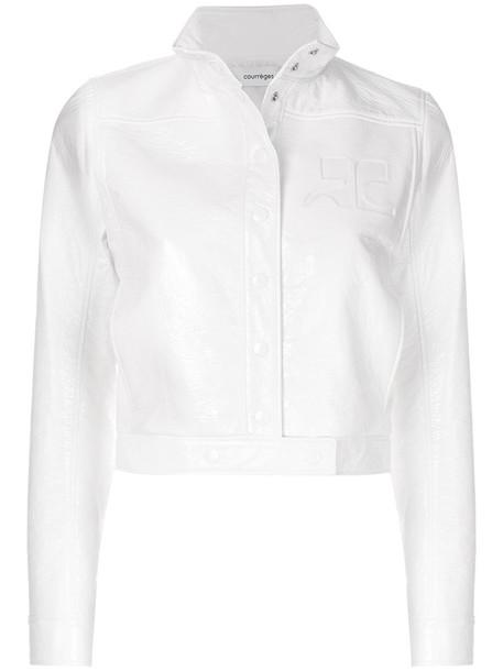 COURRÈGES jacket bomber jacket cropped women white cotton