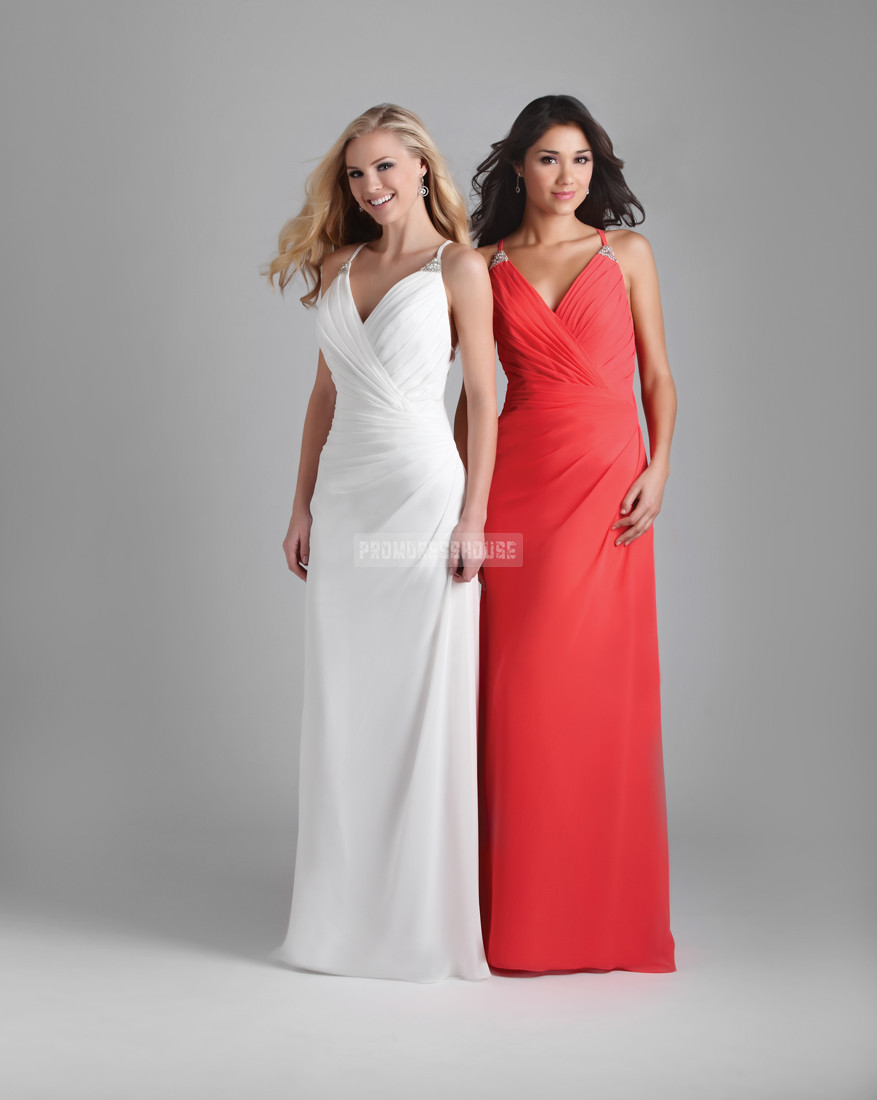 Chiffon Floor Length Sheath V-neck Criss Cross Back Ruched Evening Dress - Promdresshouse.com