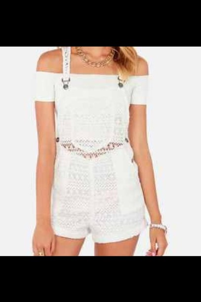 shorts overalls white jumpsuit top