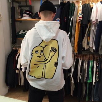 sweater hoodie white warm fall outfits menswear guys unisex custom artwork print artwork graphics funny rad skater cool instagram tumblr streetwear streetstyle style ootd butt funny sweater jacket windbreaker top mens hoodie white sweater