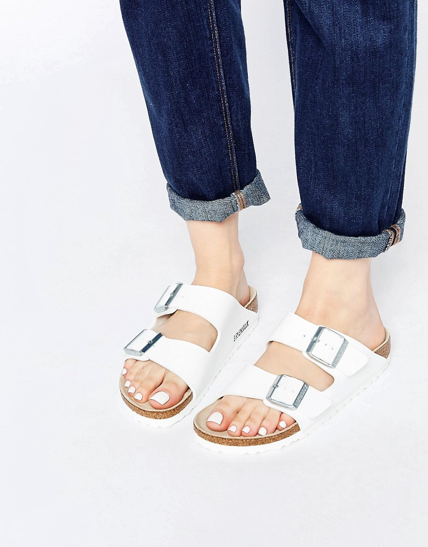 94dd9e999e Birkenstock Arizona White Birko Flor Narrow Fit Flat Sandals at asos ...