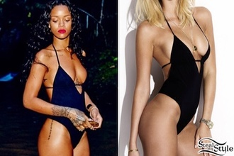 swimwear swimmsuit rihanna swimsuit black v neck swimsuit