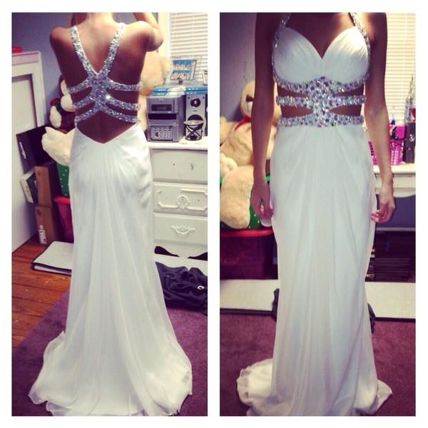 dress prom sexy prom dress white white dress cut-out dress prom dress diamonds