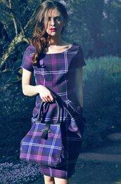 dress,tartan,short,plaid,handbag