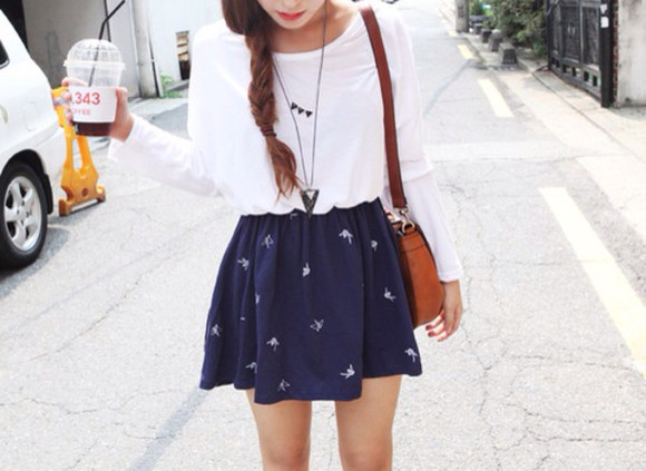 bag satchel white skirt printed skirt korean style korean fashion blue skirt