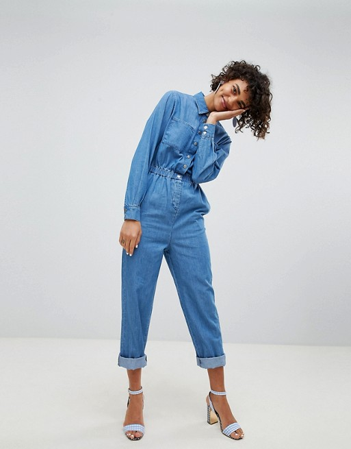 ASOS DESIGN denim utility jumpsuit in blue at asos.com