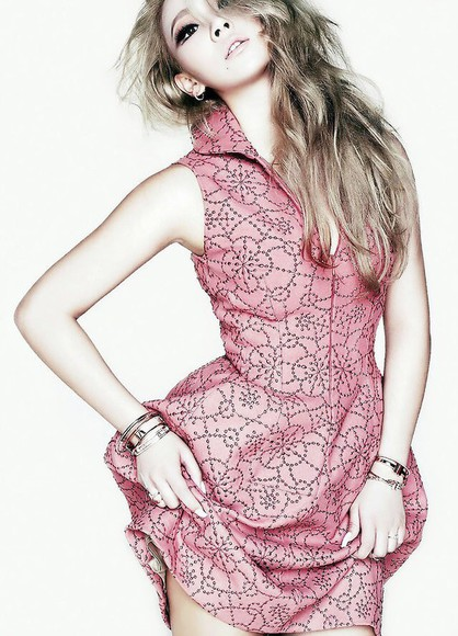 pink dress cute dress cl lee chaerin kfashion high neckline shapes dress patterned dress sexy dress ulzzang fashion