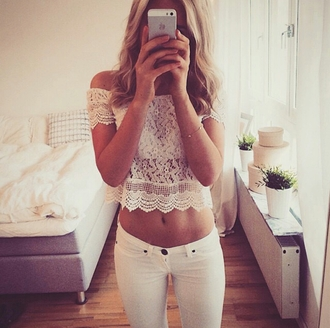 top no shoulders shoulder free crop tops lace white lace lace top lace crop top white jeans jeans white hipster fashionista style stylish trendy cute girly summer cool tumblr tumblr outfit tumblr top tumblr girl tumblr clothes girl women blogger instagram pretty gorgeous elegant preppy beautiful lifestyle blonde hair date outfit cropped clothes on point clothing off shoulder crop top