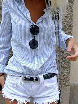 shirt blouse jeans white hollister abrocrombie & fitch stripes blue light blue hippie hipster boho round glasses glasses black belt bag crossbody bag cute pretty style stylish fashion fashionista classy dressy amazing bohemian