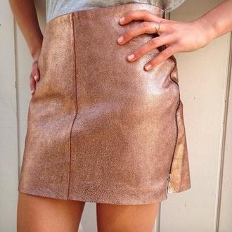 skirt sparkle brons bronse style metallic rose gold chic pretty mini skirt miniskirt mini cute skater skirt