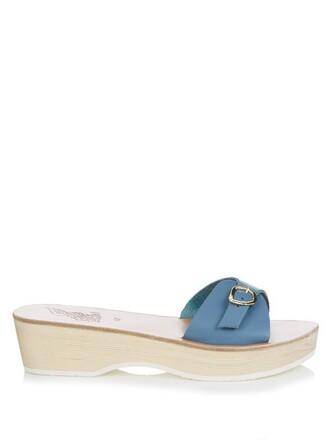 sandals flatform sandals leather blue shoes