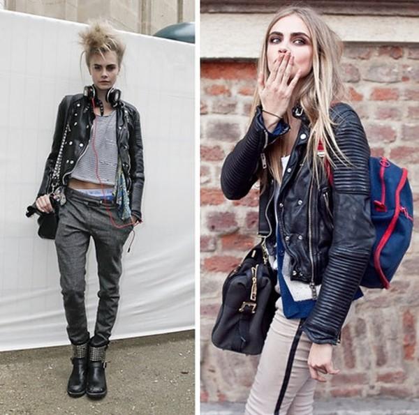 Jacket Black Leather Jacket Cara Delevingne Silver