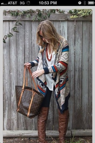 sweater tribal pattern fall outfits cardigan