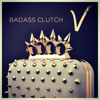bag badass clutch handbag purse classy studs spikes spiked gold vanity vanity row dress to kill