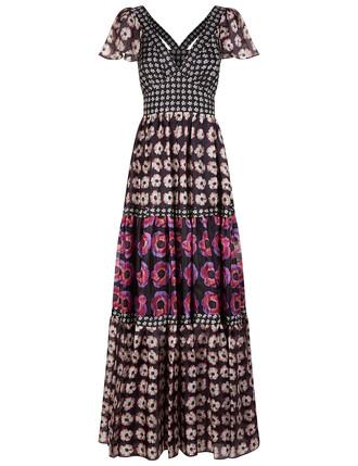 dress floral print black silk