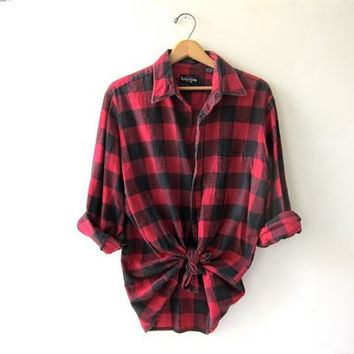 Vintage red checkered boyfriend flannel / Grunge lumberjacket shirt on Wanelo