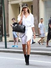 dress,shirt dress,hailey baldwin,boots,purse,cap,white shirt,white,belt,oversized shirt,oversized