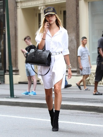 dress shirt dress hailey baldwin boots purse cap white shirt white belt oversized shirt oversized