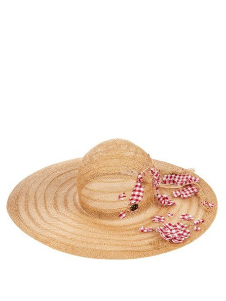 MAISON MICHEL Lucia embellished straw hat in red / multi