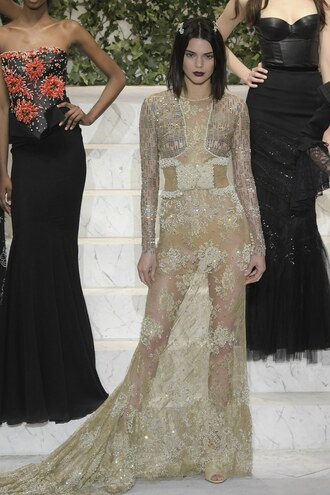 dress kendall jenner runway la perla fashion week 2017 ny fashion week 2017 see through see through dress lace dress