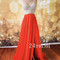 A-line v neckline chiffon long prom dress, formal dresses - 24prom