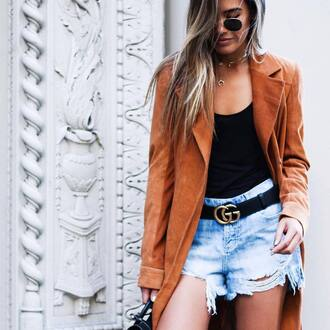 coat suede coat rust gucci belt tumblr suede top black top gucci belt shorts distressed denim shorts denim shorts necklace gold necklace sunglasses ombre hair logo belt crescent pendant jewels jewelry gold gold jewelry accessories