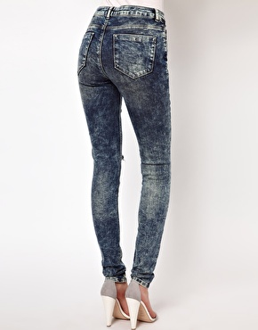 ASOS | ASOS Ridley Supersoft High Waisted Ultra Skinny Jeans In Acid Wash With Rips at ASOS