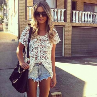 shorts clothes lace flowy top cute shirt