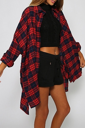 blouse cropped black grunge plaid crop tops 90s style denim casual urban