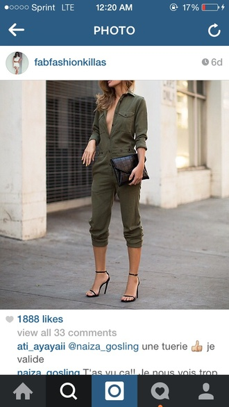 jumpsuit army green jumper