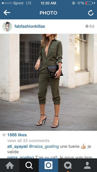 army green jumpsuit jumper