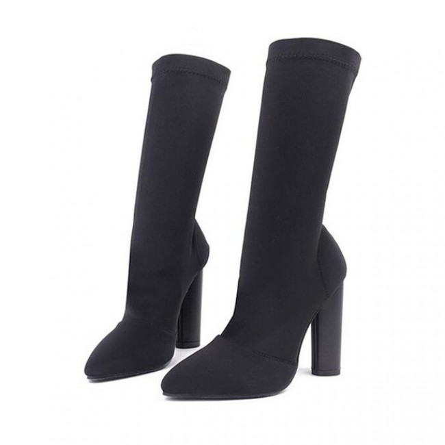 Black High Heel Sock Boots