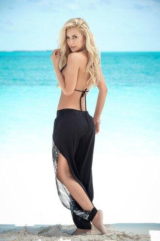 pants beach pants fitted waist and ankle stylish side slit black beach pants mapalé
